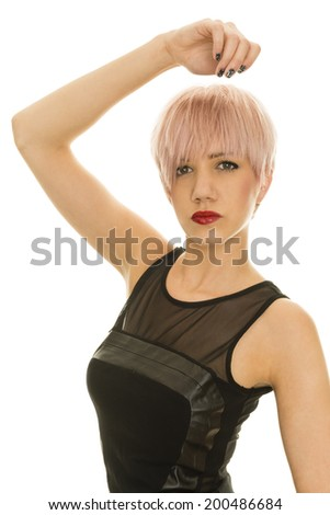 beautiful young woman with perfect stylish haircut - stock photo