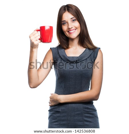 Beautiful young woman with red cup, isolated on white background - stock photo