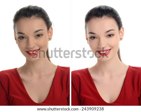 Beautiful young woman with red lips smiling. Before and after retouching with photoshop. Aging versus young, acne beauty treatment. Isolated on white background. Edited photos being compared. - stock photo