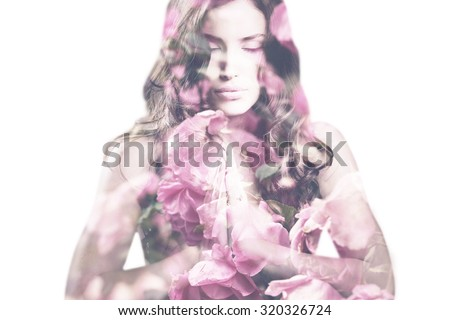beautiful young woman with roses double exposure - stock photo