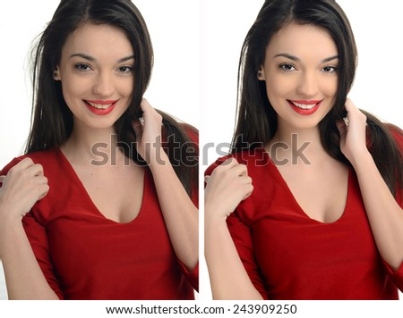Beautiful young woman with sexy red lips smiling before and after retouching with photoshop. Aging versus young, acne beauty treatment. Isolated on white background. Edited photos being compared. - stock photo