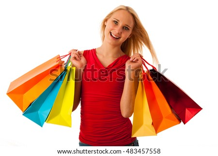Beautiful young woman with shopping bags consumerism isolated over white backgeeound