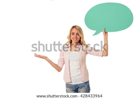 Beautiful young woman with speech bubble is looking at camera and smiling, isolated on white background - stock photo