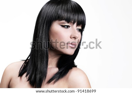 Beautiful young woman with straight Healthy Hair