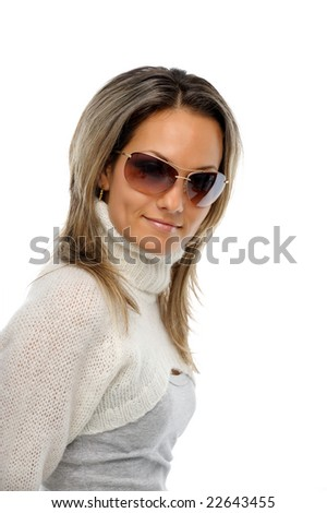 beautiful young woman with sunglasses against white