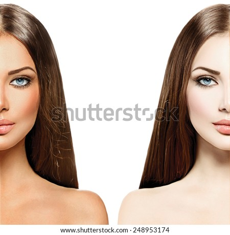 Beautiful young woman with tanned skin before and after tan. Face divided in two parts, tanned and natural. Suntan concept. Isolated on a white background, - stock photo