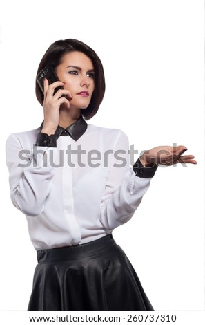 beautiful young woman with telephone isolated on a white background