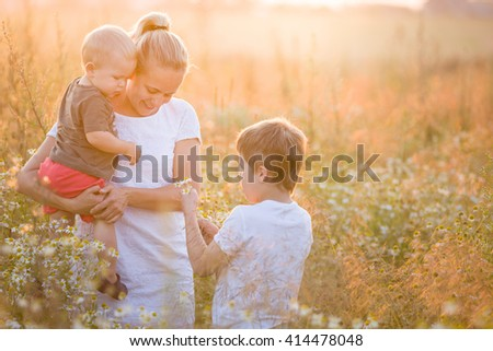 Beautiful young woman with two boys on the daisy meadow on a sunny day. Happy family on summer sunset. Kid boy giving flower to his mother. Mum with baby and kid. - stock photo