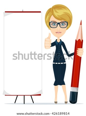 Beautiful young woman writing on copy space with pencil. Isolated on white. Stock illustration - stock photo