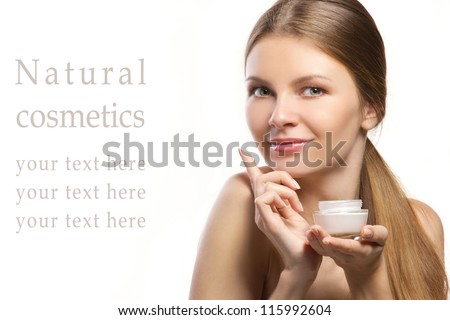 beautiful young women advertising  of natural cosmetic isolated on white - stock photo
