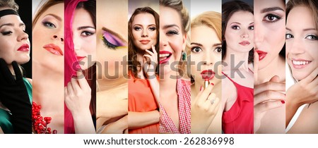 Beautiful young women in collage - stock photo