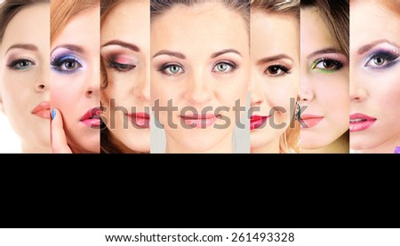 Beautiful young women in collage, face-care and skin-care concept - stock photo