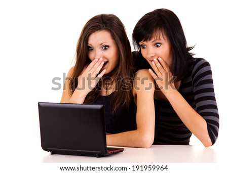 beautiful young women studying with the laptop, white background - stock photo