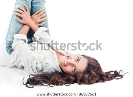 Beautiful young women, white background - stock photo