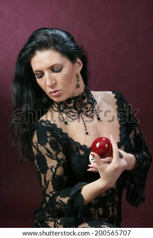 beautiful young women with accessories for billiards