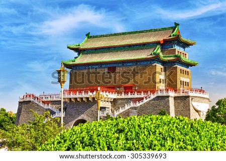 Beautiful Zhengyangmen Gate (Qianmen Gate ). This famous gate is located at the south of Tiananmen Square in Beijing, China