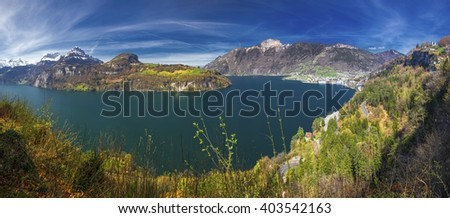 Beautifula panorama of Lake Lucerne, Seelisberg, town Brunnen and village Bauen from Morschach, Switzerland