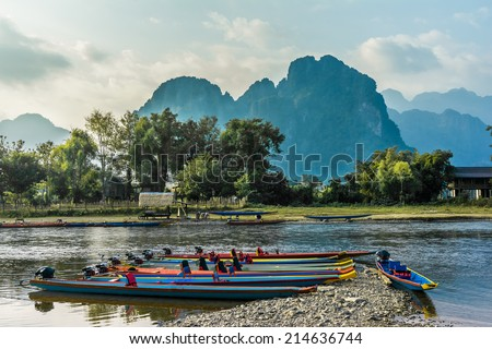 Beautifull landscape on the Nam Song River in Vang Vieng, Laos. - stock photo