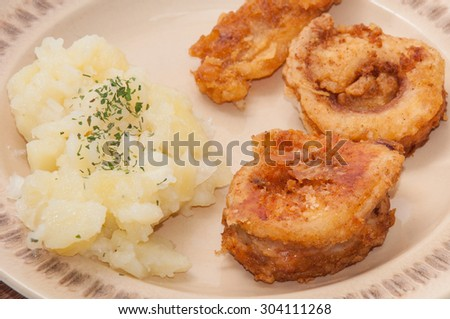 Beautifully arranged fried fish with potato salad. - stock photo