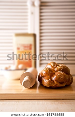 Beautifully braided challah for Shabbat and Holidays - stock photo