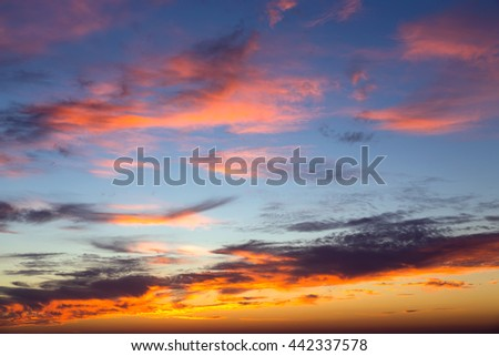 Beautifully bright colours of a evening sunset - stock photo