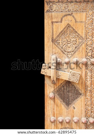 Beautifully carved right half of ancient door