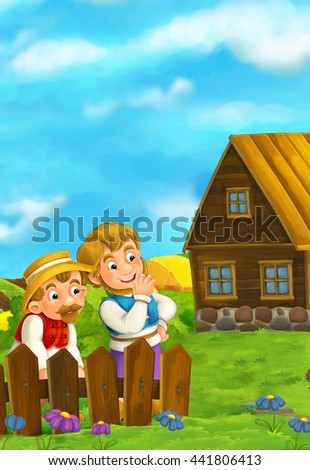 Beautifully colored scene with cartoon character - cat traveler is standing and greeting to two men in the background - illustration for children