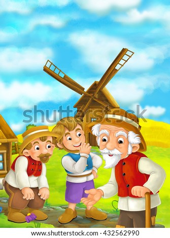 Beautifully colored scene with cartoon character - old man standing and talking or greeting someone - windmill in the background - illustration for children - stock photo