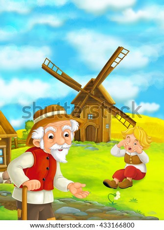Beautifully colored scene with cartoon characters - old man standing and talking or greeting someone or son that slept on grass - windmill in the background - illustration for children - stock photo