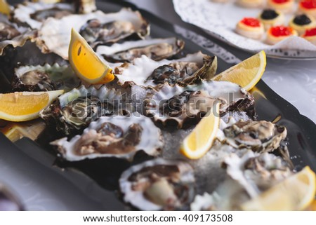 Beautifully decorated catering banquet table with oysters, mussels and seafood with ice and lemon on corporate christmas birthday party event or wedding celebration - stock photo