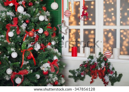 Beautifully decorated Christmas interior. House decorated to christmas celebration