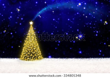 Beautifully decorated Christmas tree with golden lights and white snow.Christmas background.Christmas tree and starry sky background.