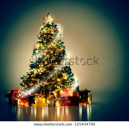 Beautifully decorated Christmas tree with many presents under it.