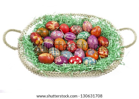 Beautifully decorated Easter eggs - stock photo