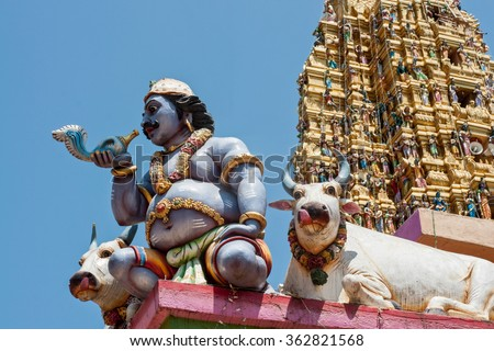 Beautifully decorated Hindu temple with blue sky background in Sri Lanka - stock photo