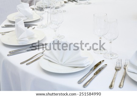 Beautifully organized event - served festive table ready for guests - stock photo