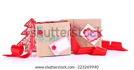 Beautifully packaged gifts isolated on white