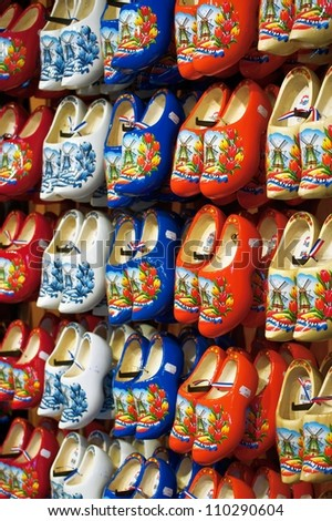 Beautifully painted dutch wooden clogs - stock photo
