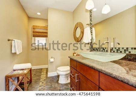Beautifully renovated craftsman style home bathroom with modern sink and chrome faucet. Northwest, USA