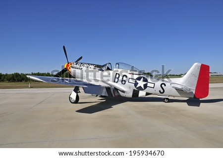 Beautifully restored WWII fighter aircraft - stock photo