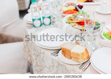 Beautifully served table in a restaurant. Banquet menu