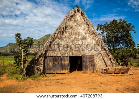 Beautifully Shaped Tobacco Drying House In Western Cuba