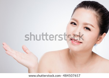 BEAUTY : Adorable Asian woman on white background.