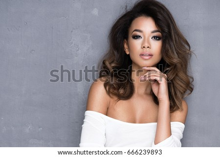 Beauty Afro young woman in white dress