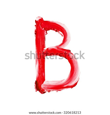 "Beauty alphabet - big red lipstick letters isolated on white background. ""B"" letter."