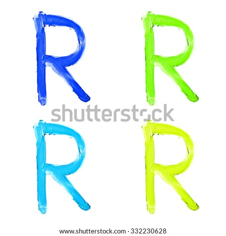"Beauty alphabet set - blue, green and yellow dye letters isolated on white background. ""R"" letter. - stock photo"