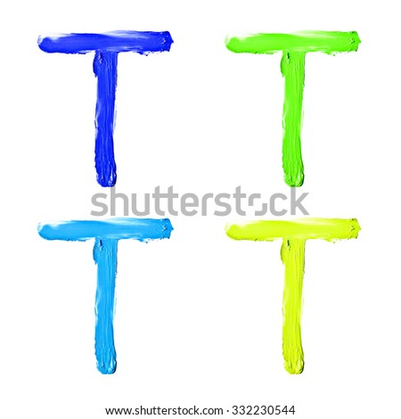 """Beauty alphabet set - blue, green and yellow dye letters isolated on white background. """"T"""" letter. - stock photo"""