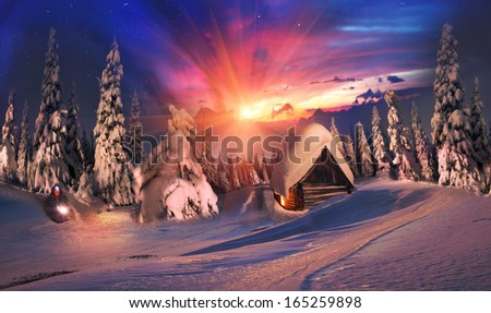Beauty Alpine sunrise high in the snowy mountains, in extreme climbing, hunting near the hut, under the shining stars, in pink light dawn, it's a joy and a positive - stock photo