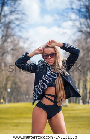 Beauty amazing fashion woman with perfect body outdoor - stock photo
