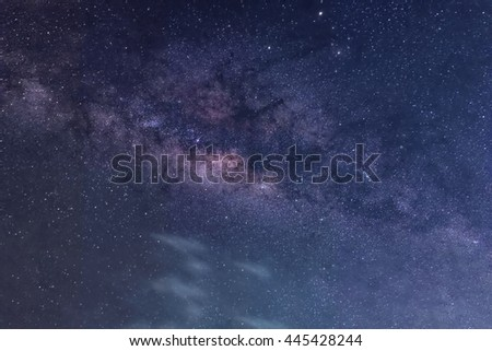 beauty and clarity of the Milky Way, with close up of the its colorful core.  - stock photo